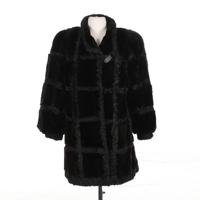 Thorpe Sheared Mink and Persian Lamb Fur Patchwork Coat with Banded Cuffs