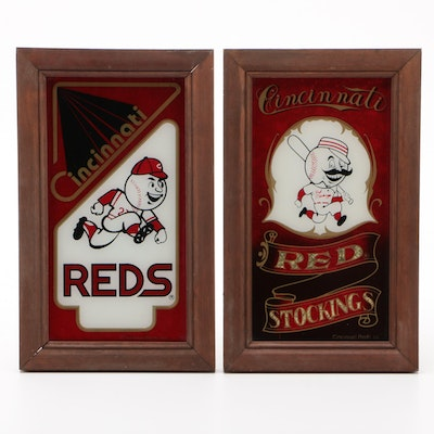 "Cincinnati Reds ""Red Stocking"" and ""Mr. Red"" Team Mascots Framed Wall Displays"