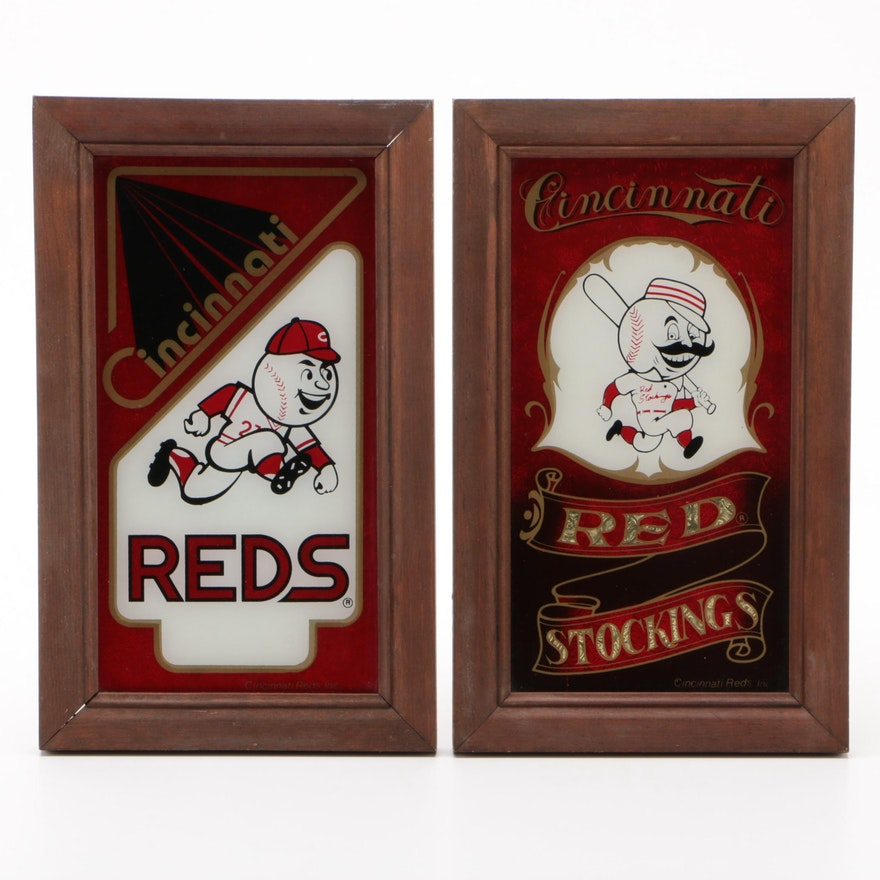 """Cincinnati Reds """"Red Stocking"""" and """"Mr. Red"""" Team Mascots Framed Wall Displays"""