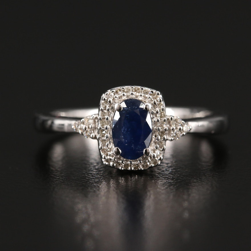 14K Sapphire Ring with Diamond Halo and Accents