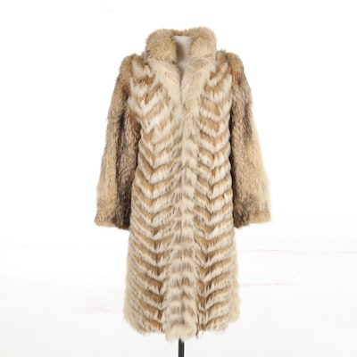 Chevron Pattern Fox Fur Coat, Vintage