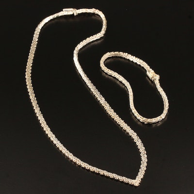 Sterling Silver Fancy Link Necklace and Bracelet
