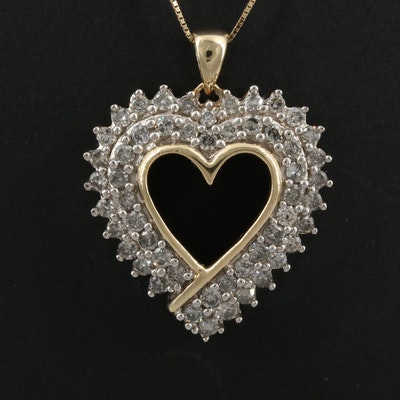 10K 1.56 CTW Diamond Heart Pendant Necklace