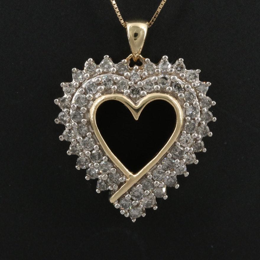 10K 1.56 CTW Diamond Heart Pendant Necklace