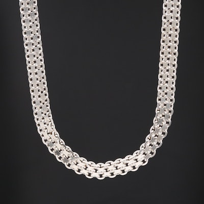 Sterling Silver Bismark Chain Necklace