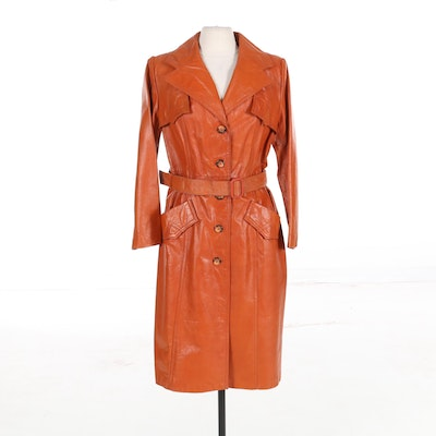 Women's Leather Single-Breasted Trench Coat, 1970s Vintage