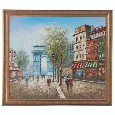 Acrylic Painting of Parisian Boulevard Scene in the Style of Caroline Burnett