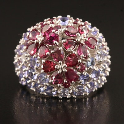 Sterling Silver Garnet and Tanzanite Floral Dome Ring
