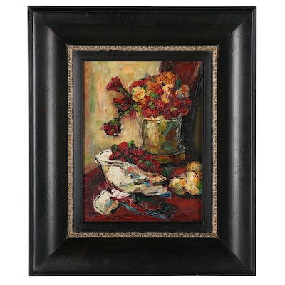 Impressionist Style Floral Still Life Oil Painting, Late 20th to 21st Century
