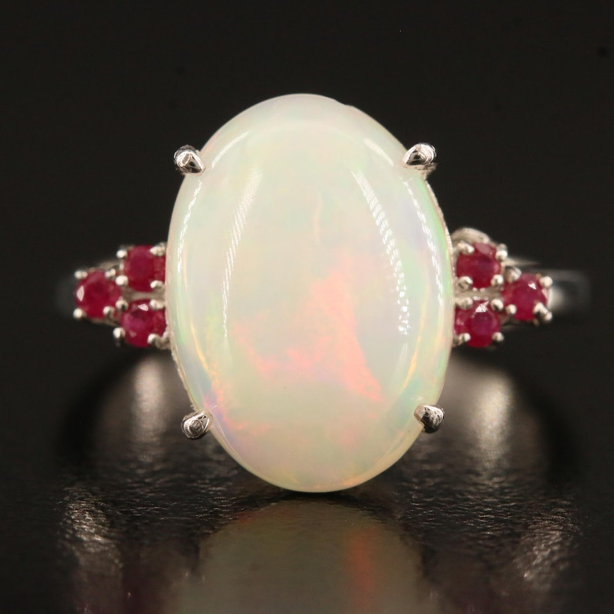Sterling Opal and Ruby Ring
