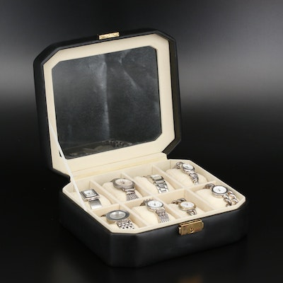 8 Sterling and Stainless Steel Quartz Wristwatches and Lockable Display Box