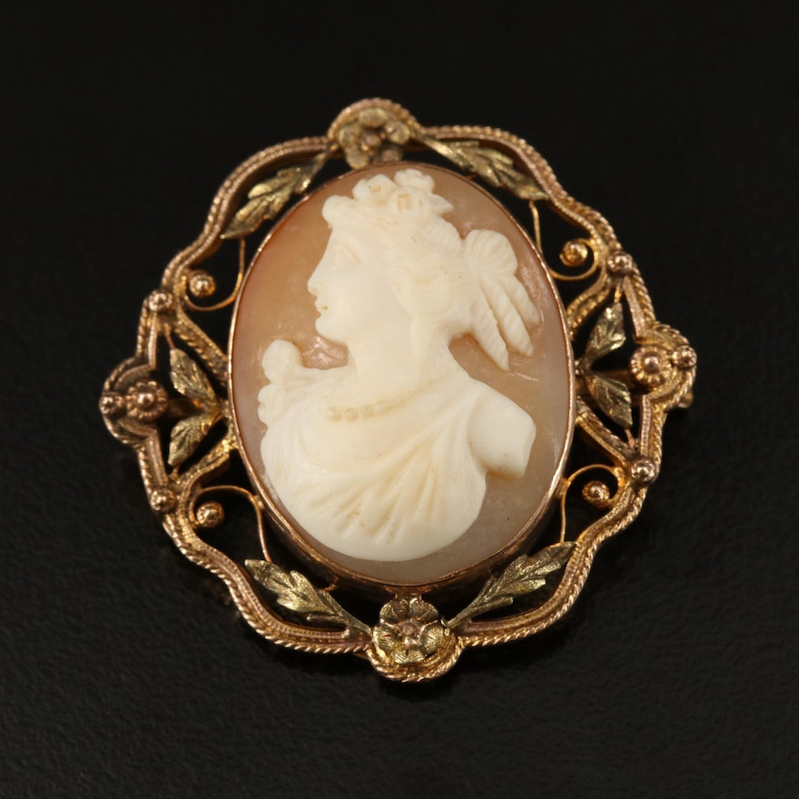 Early 1900s 10K Shell Cameo Converter Brooch with Green and Rose Gold Accents