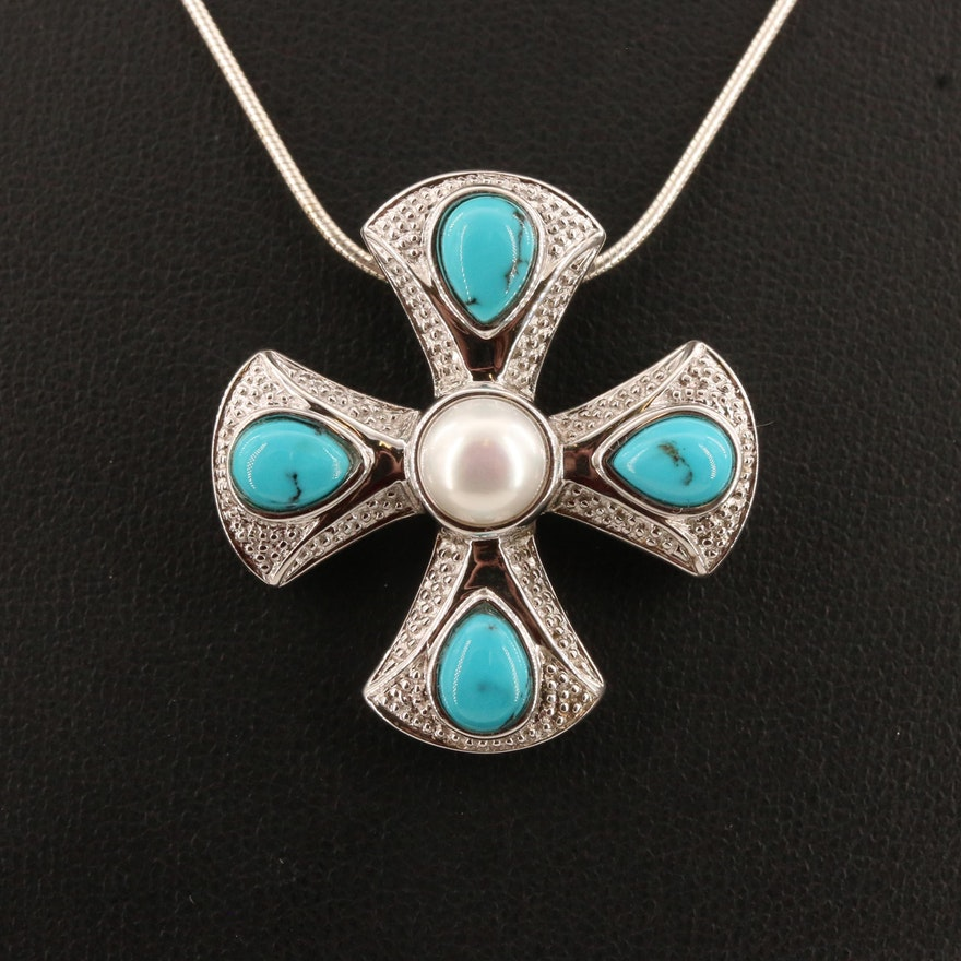 Sterling Silver Turquoise and Pearl Maltese Cross Pendant Necklace