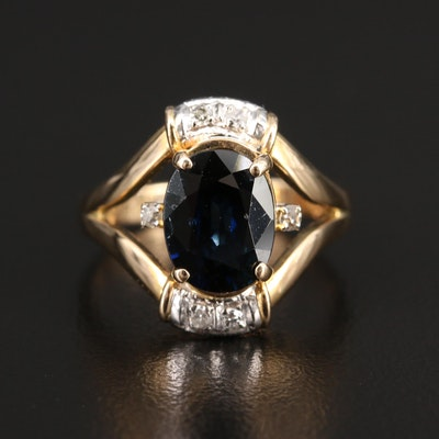 14K Sapphire and Diamond Ring with Split Shank Design