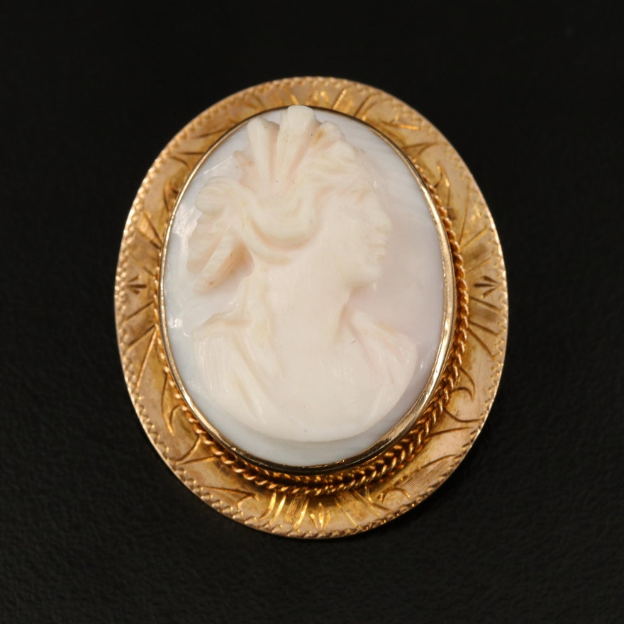 Early 1900s 10K Conch Shell Cameo Brooch with Engraved Frame