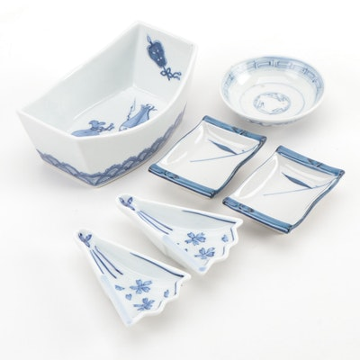 Chinese Blue and White Porcelain Rice and Dipping Sauce Serveware