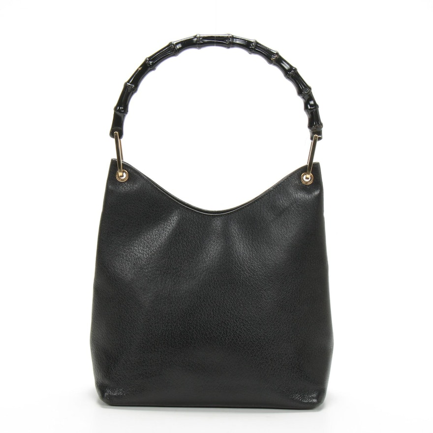 Gucci Bamboo Shoulder Bag in Black Leather