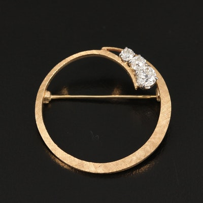 Vintage 14K Diamond Circle Brooch with Florentine Finish
