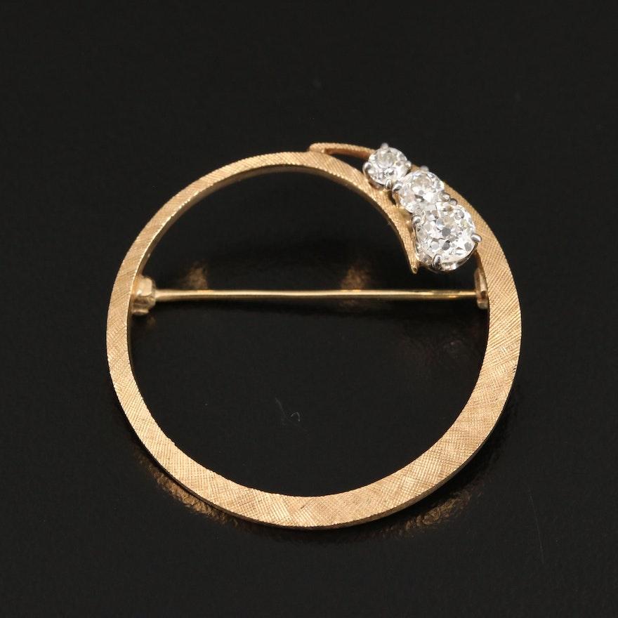 Vintage 14K Diamond Circle Brooch with Florentine Finish