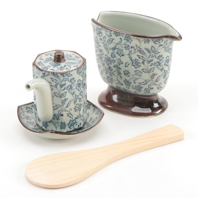 Japanese Ceramic Floral Soy and Rice Serving Set