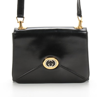 Gucci Smooth Black Leather Envelope Flap Front Shoulder Bag with GG Clasp