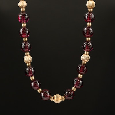 Garnet Beaded Necklace with 14K Accents