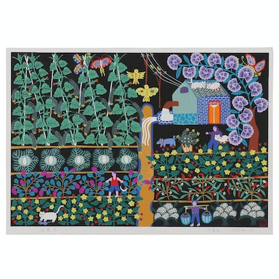 Feng Aidong Gouache Folk Peasant Painting, Late 20th to 21st Century