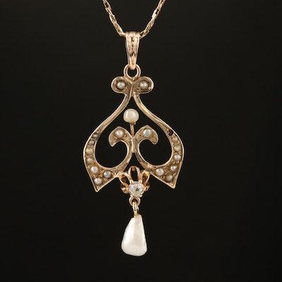 Art Nouveau 10K Diamond and Pearl Pendant on 14K Cobra Chain Necklace