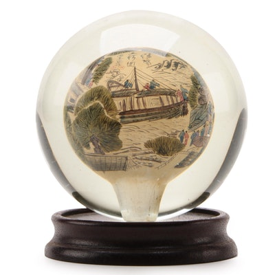 Chinese Reverse Painted Globe with Stand and Presentation Box