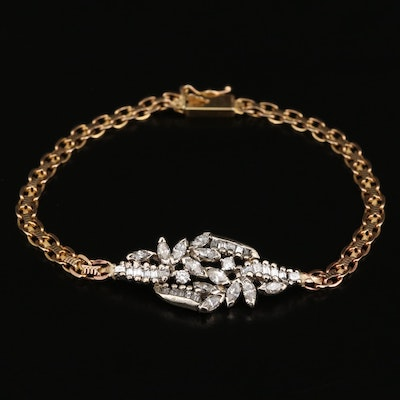 14K 1.20 CTW Diamond Bracelet with Bismark Chain