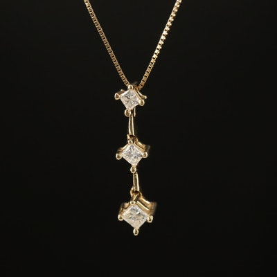 10K Diamond Bar Necklace
