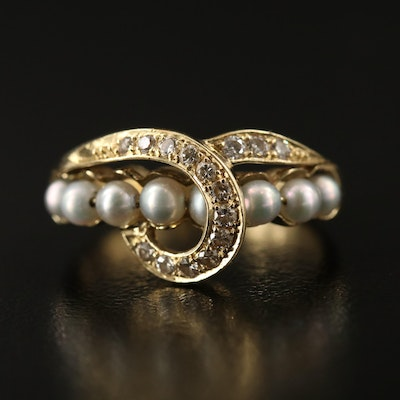 Vintage 14K Pearl and Diamond Ring with Looped Design