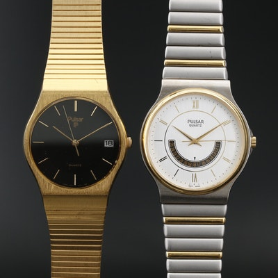 Pair of Pulsar Two Tone and Gold Tone Quartz Wristwatches