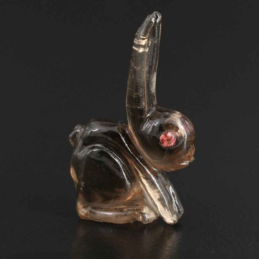Loose 10.19 CTW Smoky Quartz and Spinel Eyed Carved Rabbit