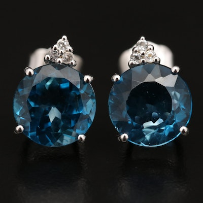 Sterling London Blue and White Topaz Stud Earrings