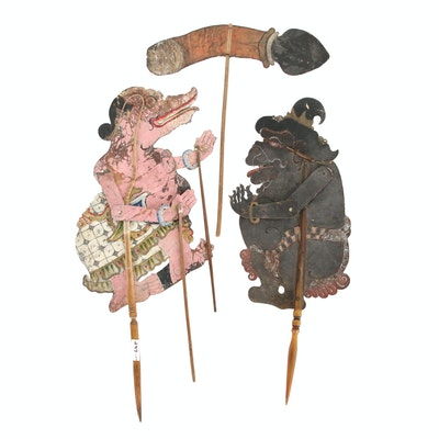 Indonesian Wayang Kulit Shadow Puppets Including Characters Togog and Tualen