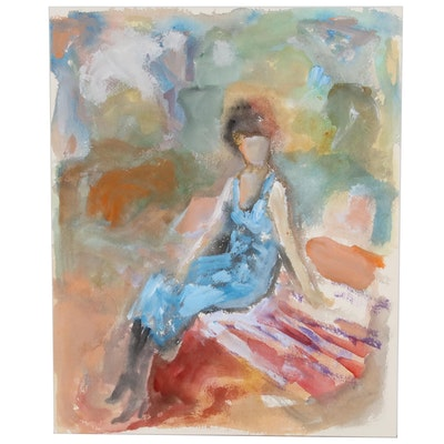 Murat Kaboulov Watercolor Painting of Seated Figure