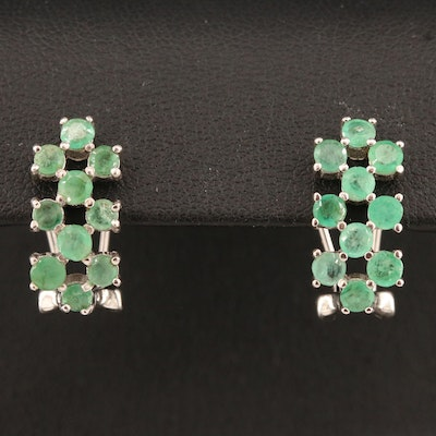 Sterling Emerald J-Hoop Earrings
