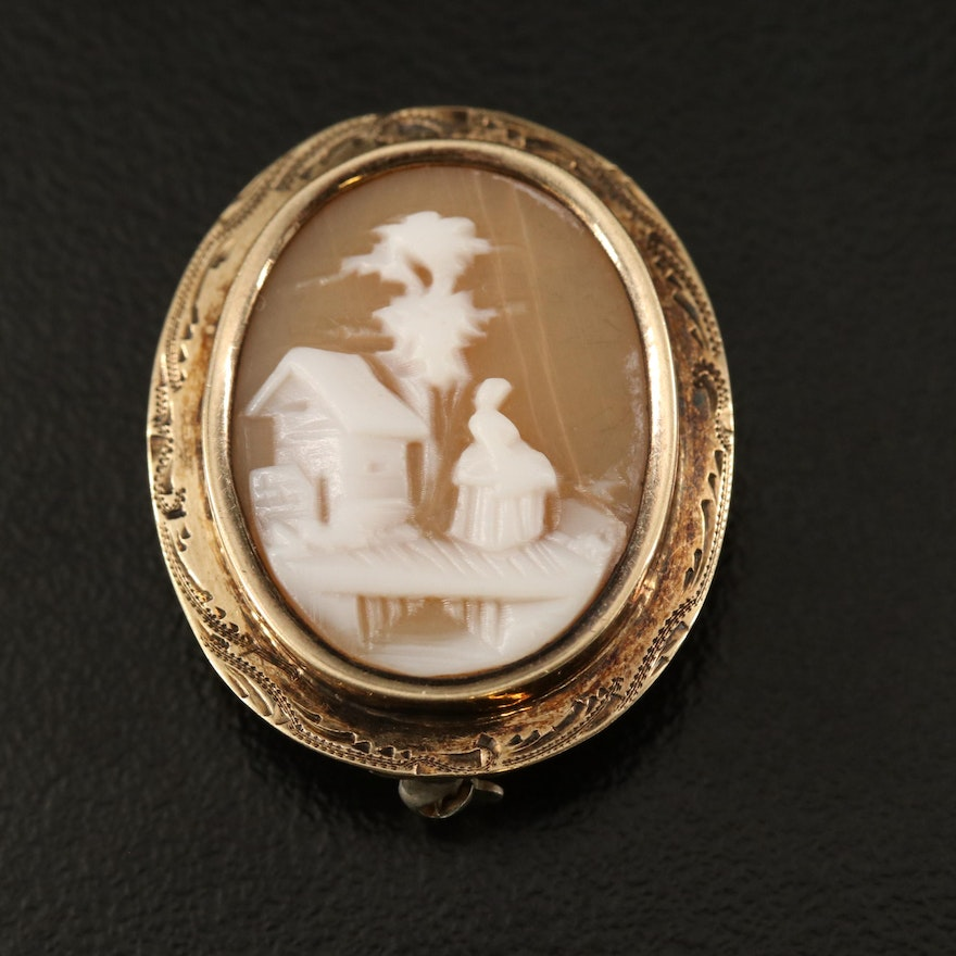 Early 1900s 14K Shell Scenic Cameo Brooch with Engraved Frame