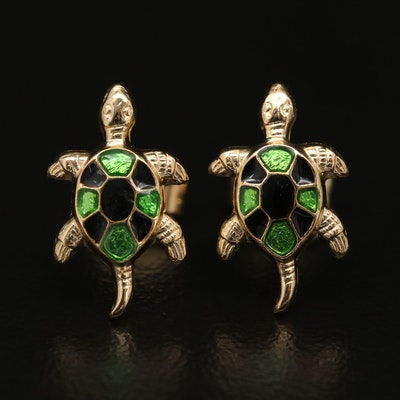 14K Enamel Turtle Stud Earrings