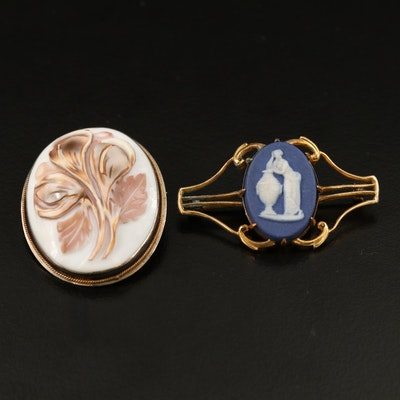 Vintage Converter Brooches Featuring Wedgwood Jasperware and 800 Silver