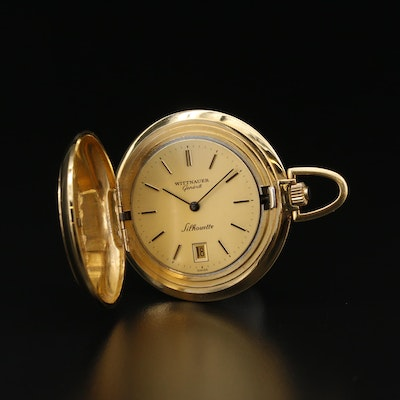 Vintage Wittnauer Silhouette Gold Tone Hunting Case Pocket Watch