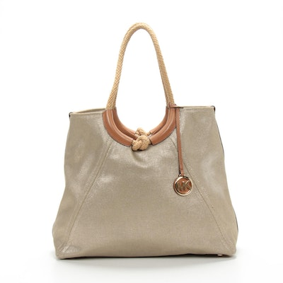 Michael Kors Gold Canvas Rope Knot Tote Bag Trimmed in Light Brown Leather