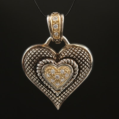 "Andrea Candela ""Amante"" Diamond Heart Enhancer Pendant with 18K Accents"