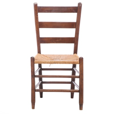 American Primitive Ladderback Side Chair in Mixed Hardwoods, 19th Century