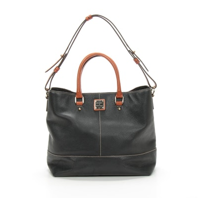 Dooney & Bourke Black Pebbled Leather Two-Way Shoulder Bag