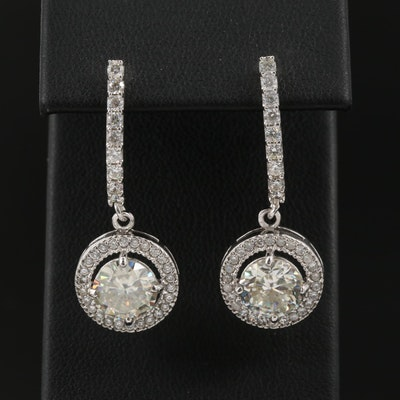 Moissanite and Cubic Zirconia Dangle Earrings