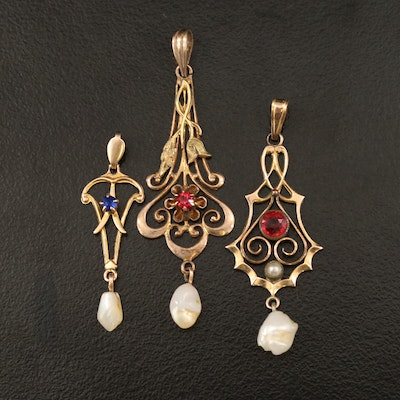 Art Nouveau 10K Pearl Drop Pendant Collection