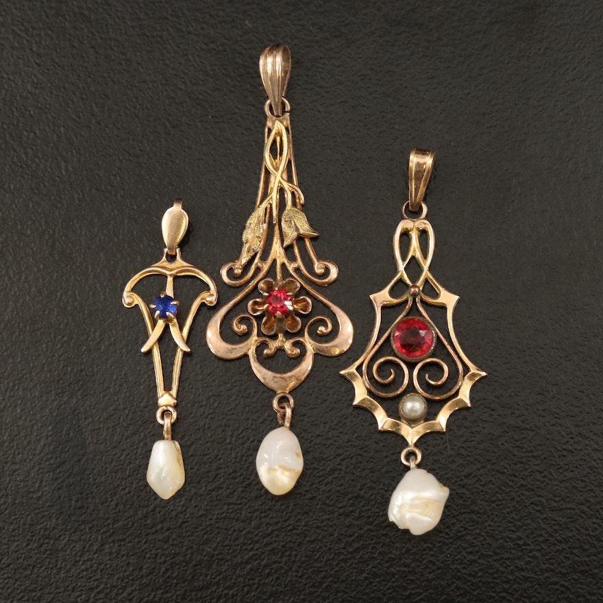 Art Nouveau 10K Pearl Drop Pendant Collection