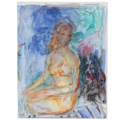 Murat Kaboulov Watercolor Painting of Nude Figure, 2004